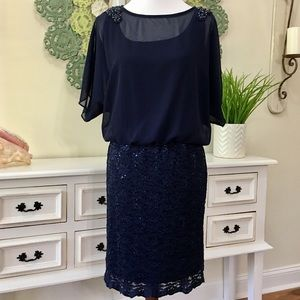 R&M Richards Navy Fitted Lace Sequin Dress - I
